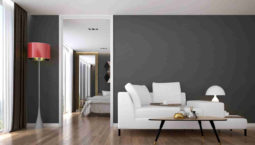 The interior of modern living room and bedroom service apartment design